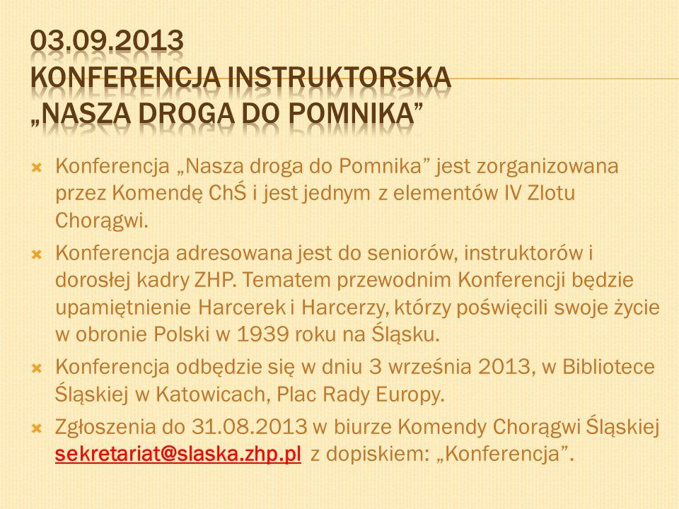 Konferencja Nasza droga do Pomnika jest zorganizowana przez Komendę ChŚ i jest jednym z elementów IV Zlotu Chorągwi. Konferencja adresowana jest do se