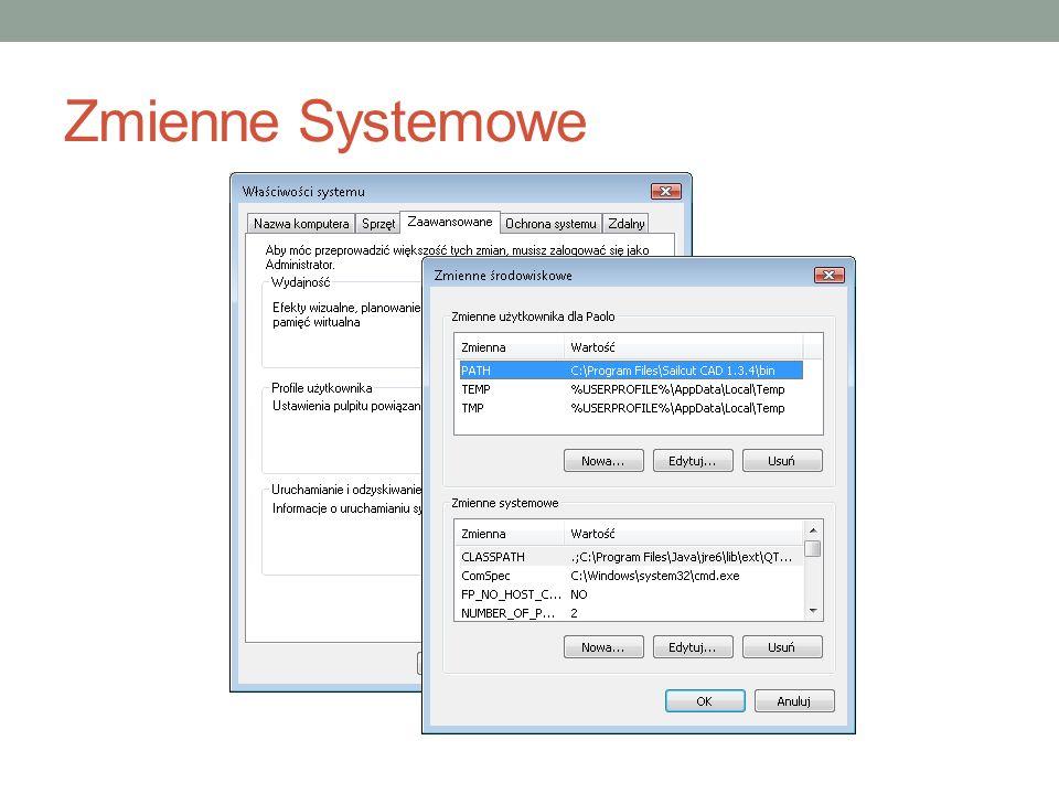 Zmienna Path C:\Program Files\PC Connectivity Solution\; C:\Program Files\Microsoft DirectX SDK (August 2007)\Utilities\Bin\x86; %SystemRoot%\system32; %SystemRoot%; %SystemRoot%\System32\Wbem; c:\Program Files\Common Files\Roxio Shared\DLLShared\; c:\Program Files\Common Files\Roxio Shared\DLLShared\; c:\Program Files\Common Files\Roxio Shared\9.0\DLLShared\; c:\Program Files\Hewlett-Packard\IAM\bin; c:\Program Files\Microsoft SQL Server\90\Tools\binn\; C:\PROGRA~1\Borland\Delphi6\Bin; C:\PROGRA~1\Borland\Delphi6\Projects\Bpl; C:\VXIPNP\WinNT\Bin;C:\Program Files\QuickTime\QTSystem\; C:\Program Files\Bitvise Tunnelier