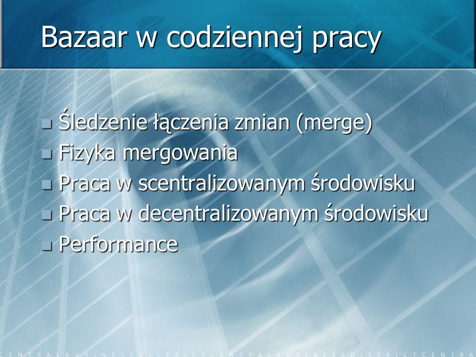 Bazaar w codziennej pracy Śledzenie łączenia zmian (merge) Śledzenie łączenia zmian (merge) Fizyka mergowania Fizyka mergowania Praca w scentralizowanym środowisku Praca w scentralizowanym środowisku Praca w decentralizowanym środowisku Praca w decentralizowanym środowisku Performance Performance