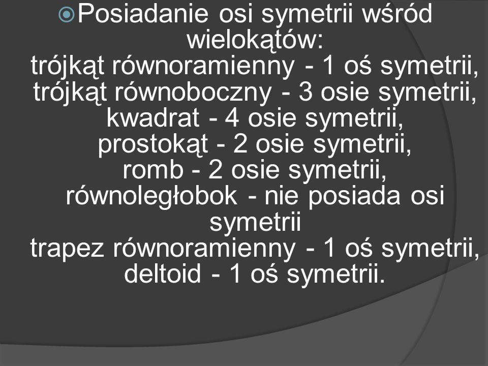 Posiadanie osi symetrii wśród wielokątów: trójkąt równoramienny - 1 oś symetrii, trójkąt równoboczny - 3 osie symetrii, kwadrat - 4 osie symetrii, pro