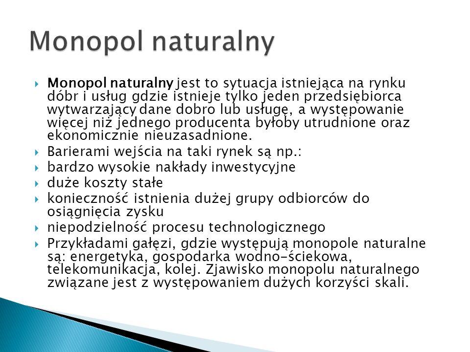 Monopol naturalny jest to sytuacja istniejąca na rynku dóbr i usług gdzie istnieje tylko jeden przedsiębiorca wytwarzający dane dobro lub usługę, a wy