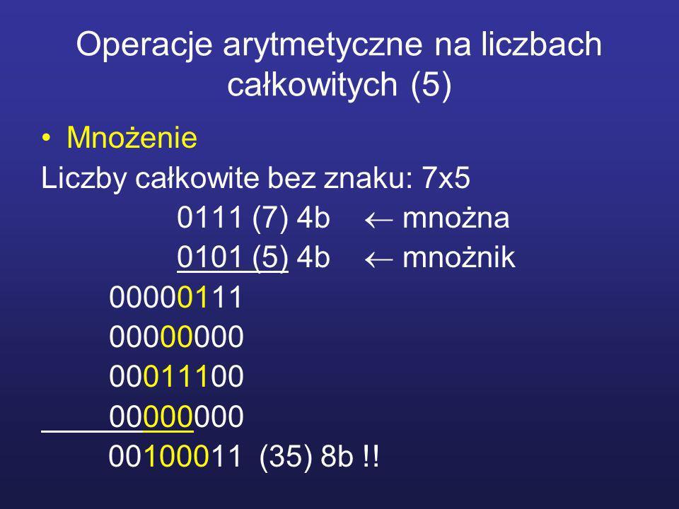 Operacje arytmetyczne na liczbach całkowitych (5) Mnożenie Liczby całkowite bez znaku: 7x5 0111 (7) 4b mnożna 0101 (5) 4b mnożnik 00000111 00000000 00011100 00000000 00100011 (35) 8b !!