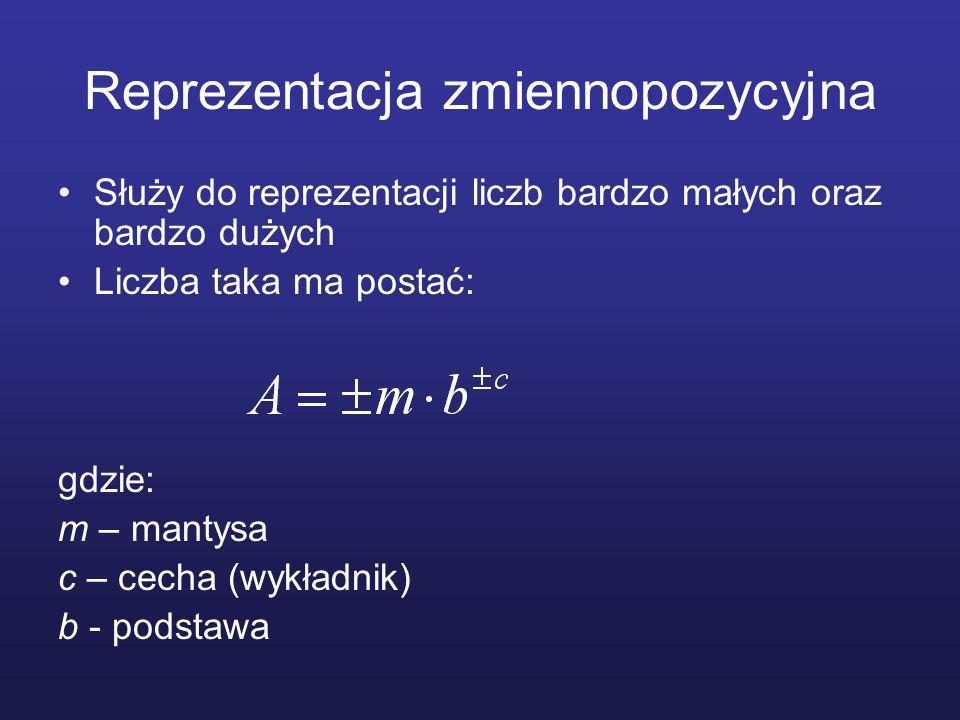 Reprezentacja zmiennopozycyjna Służy do reprezentacji liczb bardzo małych oraz bardzo dużych Liczba taka ma postać: gdzie: m – mantysa c – cecha (wykładnik) b - podstawa