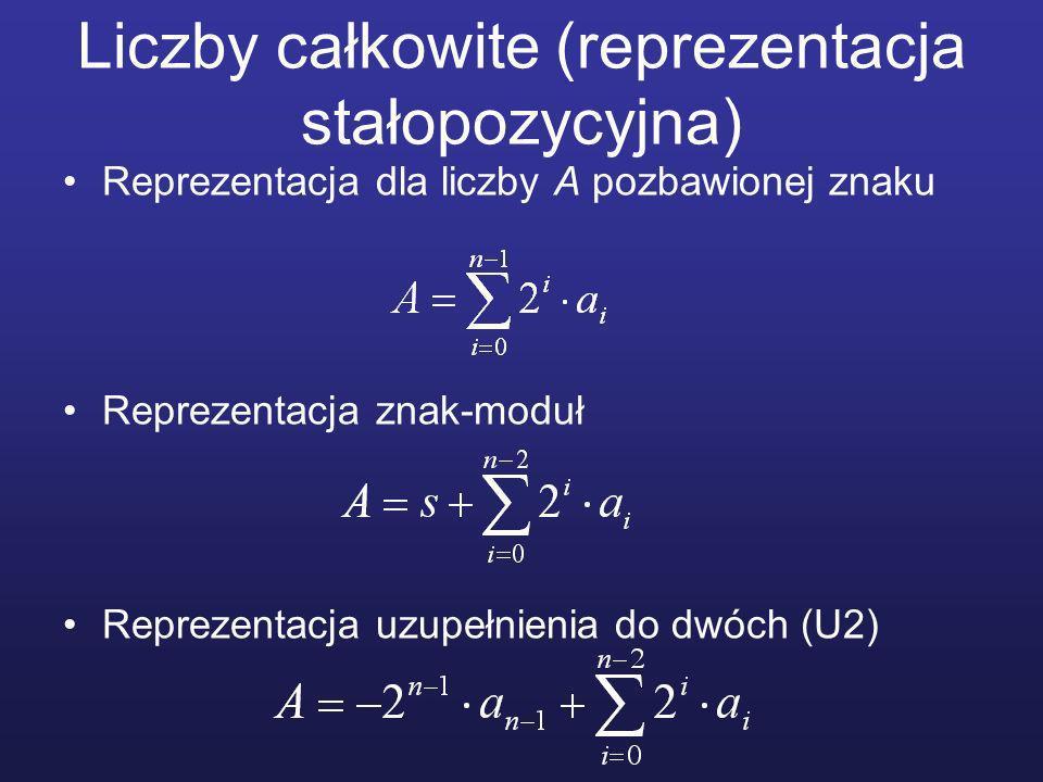 Liczby całkowite (reprezentacja stałopozycyjna) Reprezentacja dla liczby A pozbawionej znaku Reprezentacja znak-moduł Reprezentacja uzupełnienia do dwóch (U2)