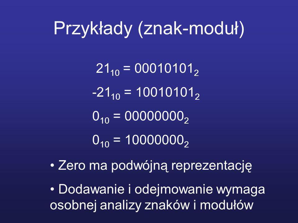 Przykłady (znak-moduł) 21 10 = 00010101 2 -21 10 = 10010101 2 0 10 = 00000000 2 0 10 = 10000000 2 Zero ma podwójną reprezentację Dodawanie i odejmowanie wymaga osobnej analizy znaków i modułów