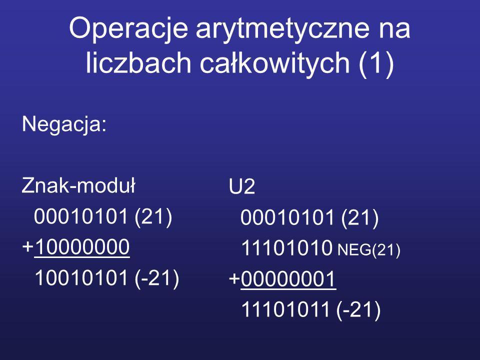 Operacje arytmetyczne na liczbach całkowitych (1) Negacja: Znak-moduł 00010101 (21) +10000000 10010101 (-21) U2 00010101 (21) 11101010 NEG(21) +00000001 11101011 (-21)