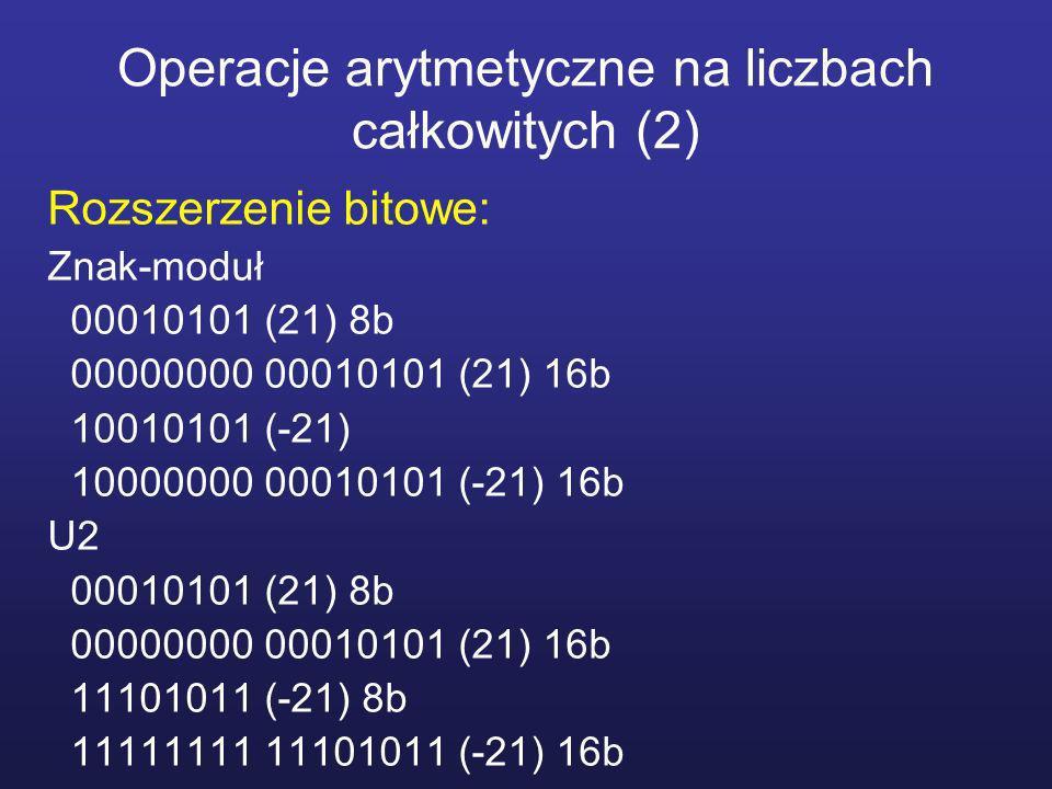 Operacje arytmetyczne na liczbach całkowitych (3) Dodawanie: Znak-moduł 00011001 (25) +00001101 (13) 00100110 (38) 10011001 (-25) +10001101 (-13) 10100110 (-38) 10011001 (-25) x0011001 +00001101 (13) x1110010 NEG(13) 10001100 (-12) 0001011 +0000001 10001100 (-12) 10001101 (-13) x0001101 +00011001 (25) x1100110 NEG(25) 00001100 (12) 1110011 R 00001100 NEG(R)