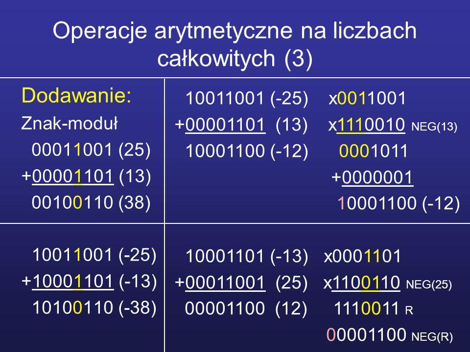 Operacje arytmetyczne na liczbach całkowitych (4) Dodawanie: U2 00011001 (25) +00001101 (13) 00100110 (38) 11100111 (-25) +11110011 (-13) 11011010 (-38) 11100111 (-25) +00001101 (13) 11110100 (-12) 11110011 (-13) +00011001 (25) 00001100