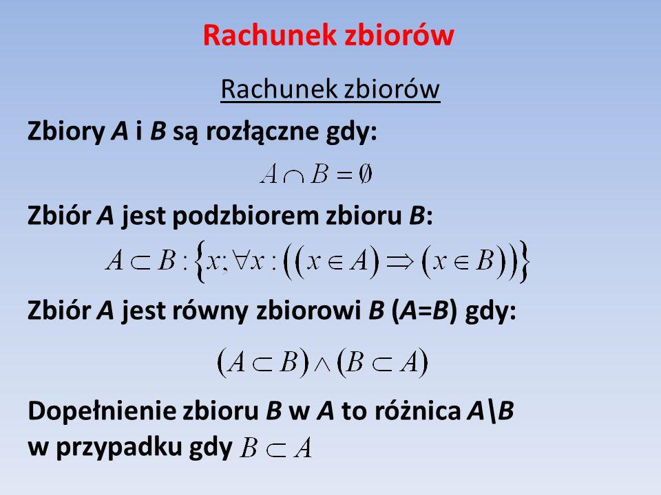 Rachunek zbiorów Zbiory A i B są rozłączne gdy: Zbiór A jest podzbiorem zbioru B: Zbiór A jest równy zbiorowi B (A=B) gdy: Dopełnienie zbioru B w A to