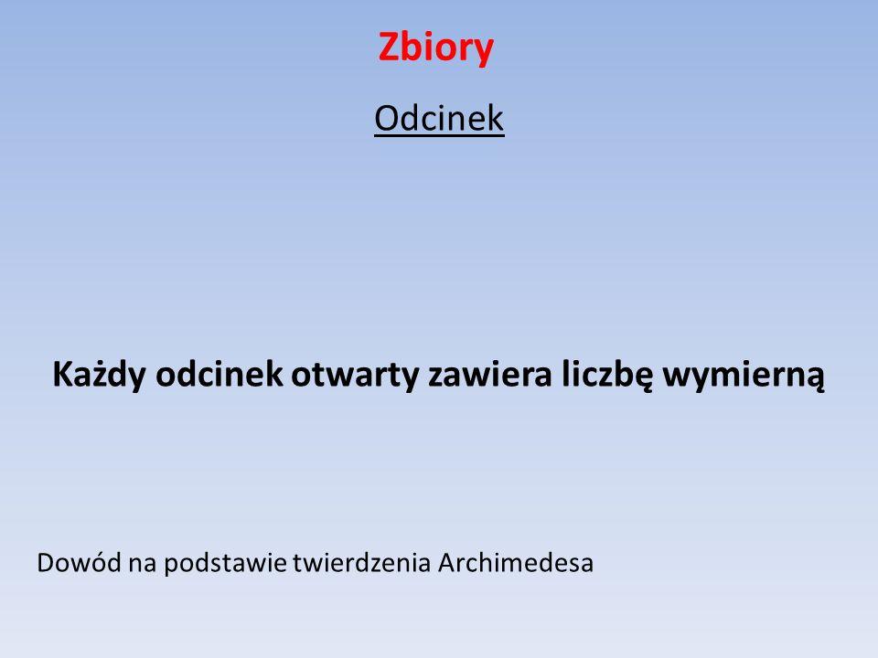 Zbiory Odcinek Każdy odcinek otwarty zawiera liczbę wymierną Dowód na podstawie twierdzenia Archimedesa