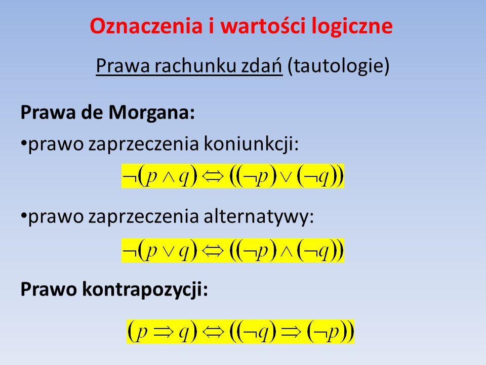 Oznaczenia i wartości logiczne Prawa rachunku zdań (tautologie) Prawa de Morgana: prawo zaprzeczenia koniunkcji: prawo zaprzeczenia alternatywy: Prawo