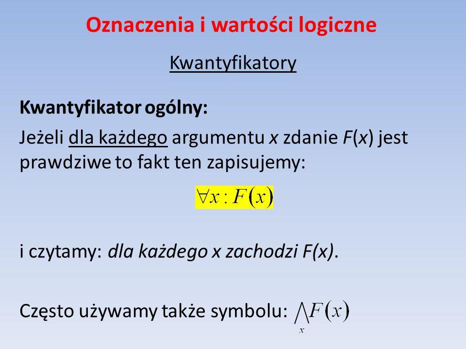 Oznaczenia i wartości logiczne Kwantyfikatory Kwantyfikator ogólny: Jeżeli dla każdego argumentu x zdanie F(x) jest prawdziwe to fakt ten zapisujemy: