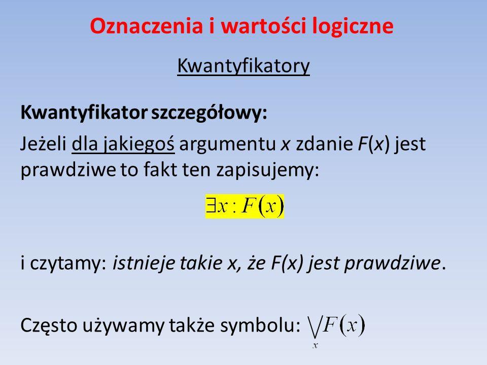 Oznaczenia i wartości logiczne Kwantyfikatory Kwantyfikator szczegółowy: Jeżeli dla jakiegoś argumentu x zdanie F(x) jest prawdziwe to fakt ten zapisu