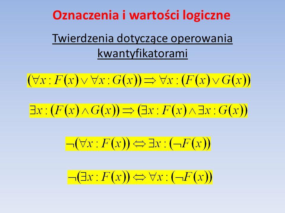 Oznaczenia i wartości logiczne Twierdzenia dotyczące operowania kwantyfikatorami