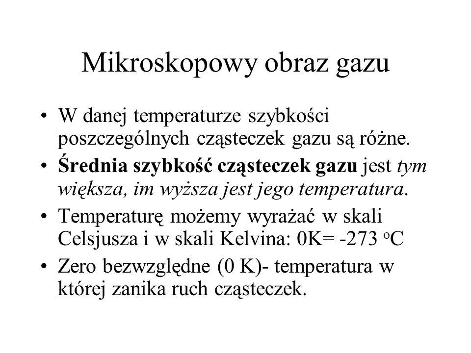Mikroskopowy obraz gazu W danej temperaturze szybkości poszczególnych cząsteczek gazu są różne. Średnia szybkość cząsteczek gazu jest tym większa, im