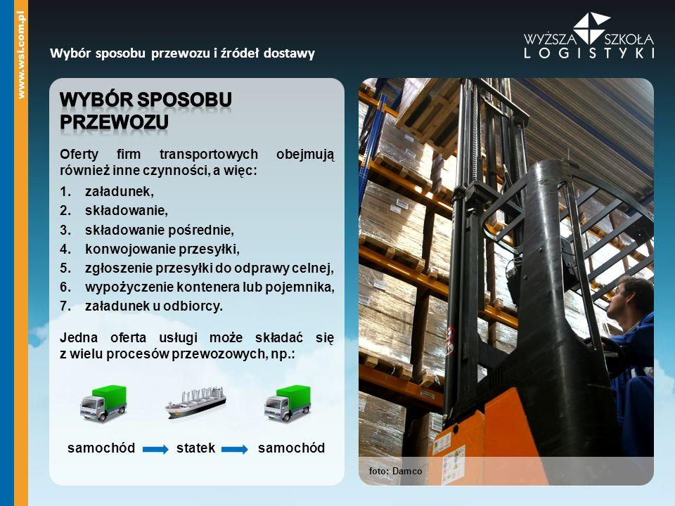 foto: Damco Wybór sposobu przewozu i źródeł dostawy