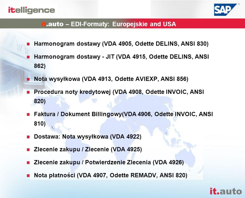 it.auto it.auto – EDI-Formaty: Europejskie and USA Harmonogram dostawy (VDA 4905, Odette DELINS, ANSI 830) Harmonogram dostawy - JIT (VDA 4915, Odette