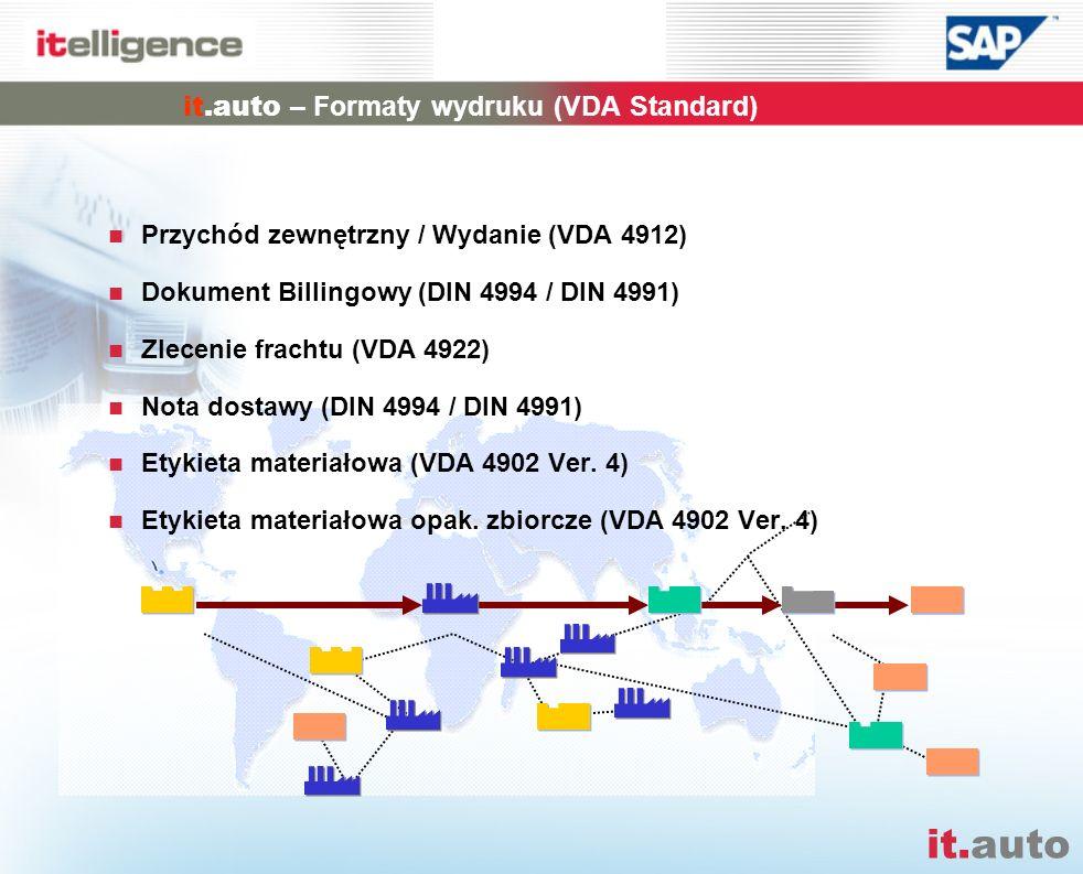 it.auto it.auto – Formaty wydruku (VDA Standard) Przychód zewnętrzny / Wydanie (VDA 4912) Dokument Billingowy (DIN 4994 / DIN 4991) Zlecenie frachtu (