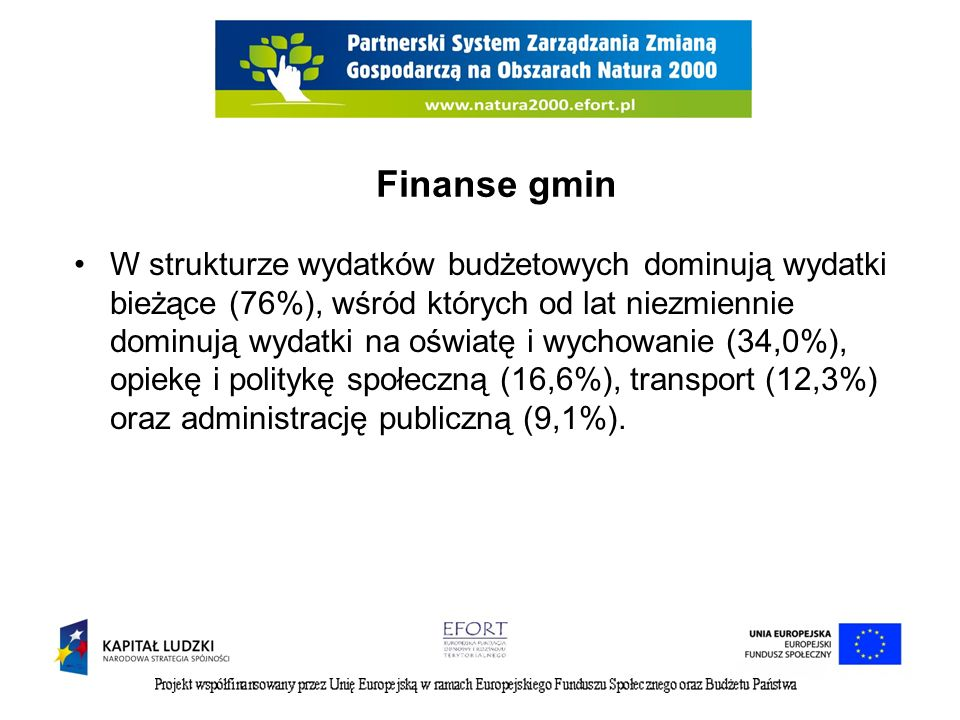 Finanse gmin W strukturze wydatków budżetowych dominują wydatki bieżące (76%), wśród których od lat niezmiennie dominują wydatki na oświatę i wychowanie (34,0%), opiekę i politykę społeczną (16,6%), transport (12,3%) oraz administrację publiczną (9,1%).
