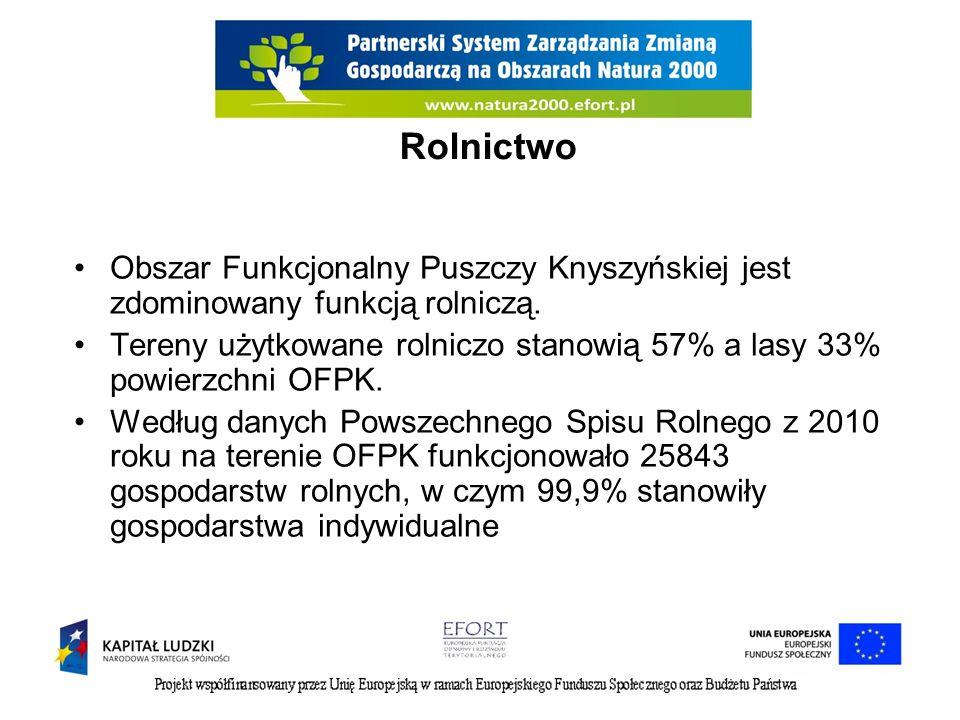 Rolnictwo Obszar Funkcjonalny Puszczy Knyszyńskiej jest zdominowany funkcją rolniczą. Tereny użytkowane rolniczo stanowią 57% a lasy 33% powierzchni O