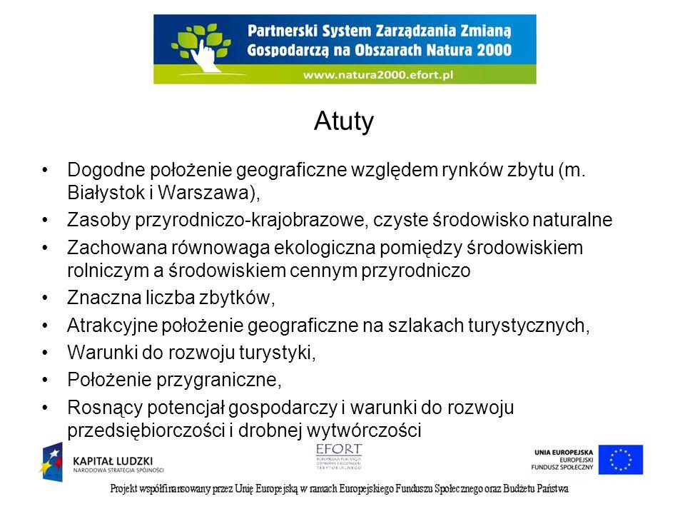 Atuty Dogodne położenie geograficzne względem rynków zbytu (m. Białystok i Warszawa), Zasoby przyrodniczo-krajobrazowe, czyste środowisko naturalne Za