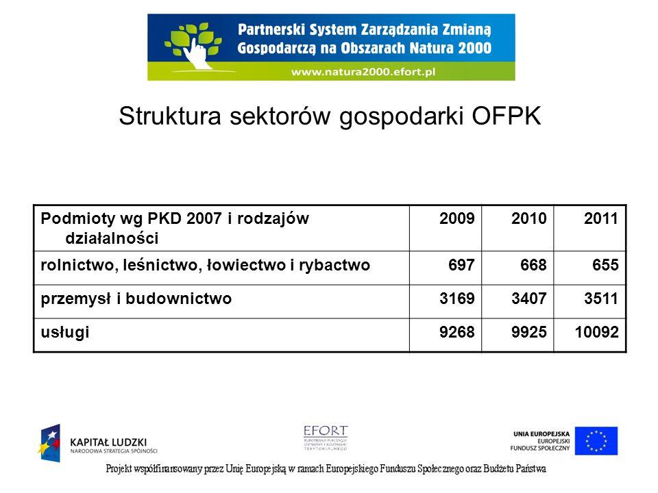 Struktura sektorów gospodarki OFPK Podmioty wg PKD 2007 i rodzajów działalności 200920102011 rolnictwo, leśnictwo, łowiectwo i rybactwo697668655 przemysł i budownictwo316934073511 usługi9268992510092