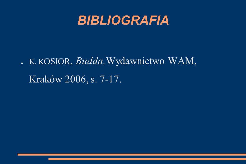 BIBLIOGRAFIA K. K OSIOR, Budda,Wydawnictwo WAM, Kraków 2006, s. 7-17.