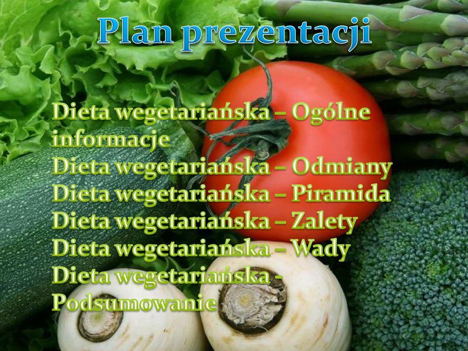 Dieta wegetariańska charakteryzuje się wyłączeniem z posiłków produktów pochodzenia zwierzęcego i ewentualnie jaj lub nabiału z przyczyn moralnych, etycznych lub zdrowotnych.
