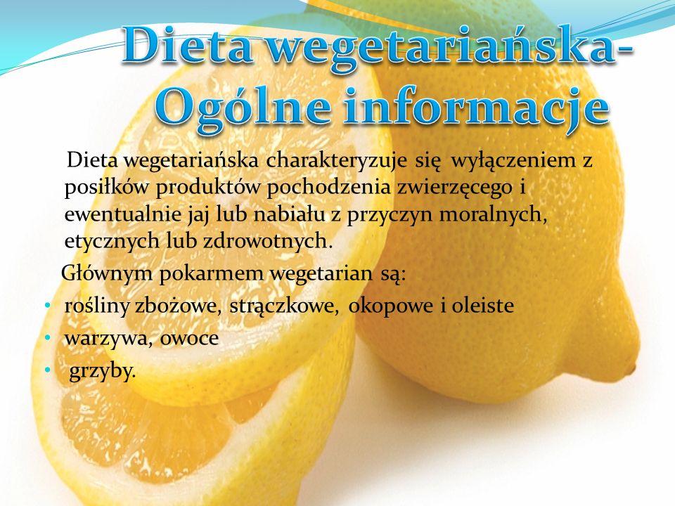Dieta wegetariańska charakteryzuje się wyłączeniem z posiłków produktów pochodzenia zwierzęcego i ewentualnie jaj lub nabiału z przyczyn moralnych, et