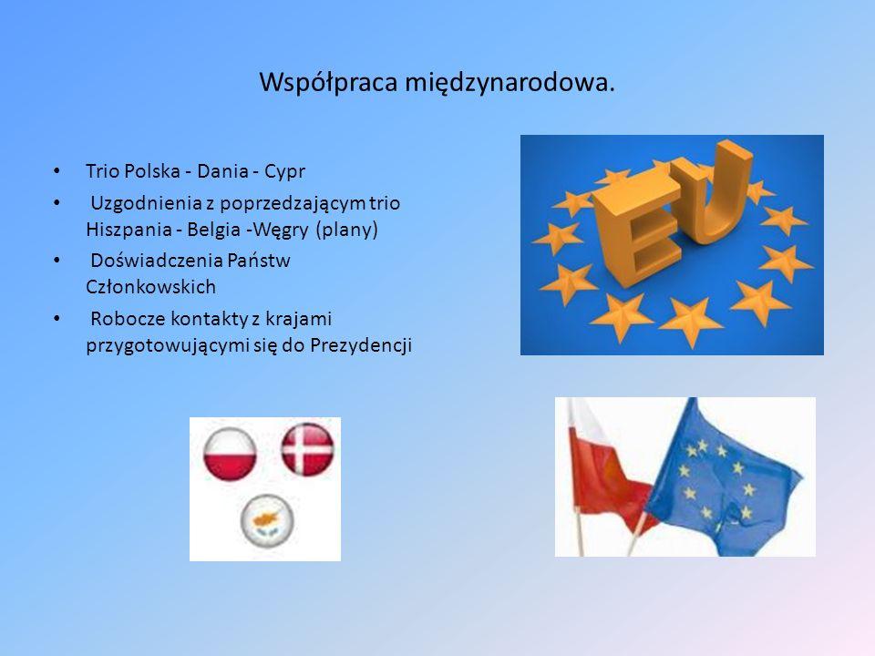 Współpraca międzynarodowa. Trio Polska - Dania - Cypr Uzgodnienia z poprzedzającym trio Hiszpania - Belgia -Węgry (plany) Doświadczenia Państw Członko