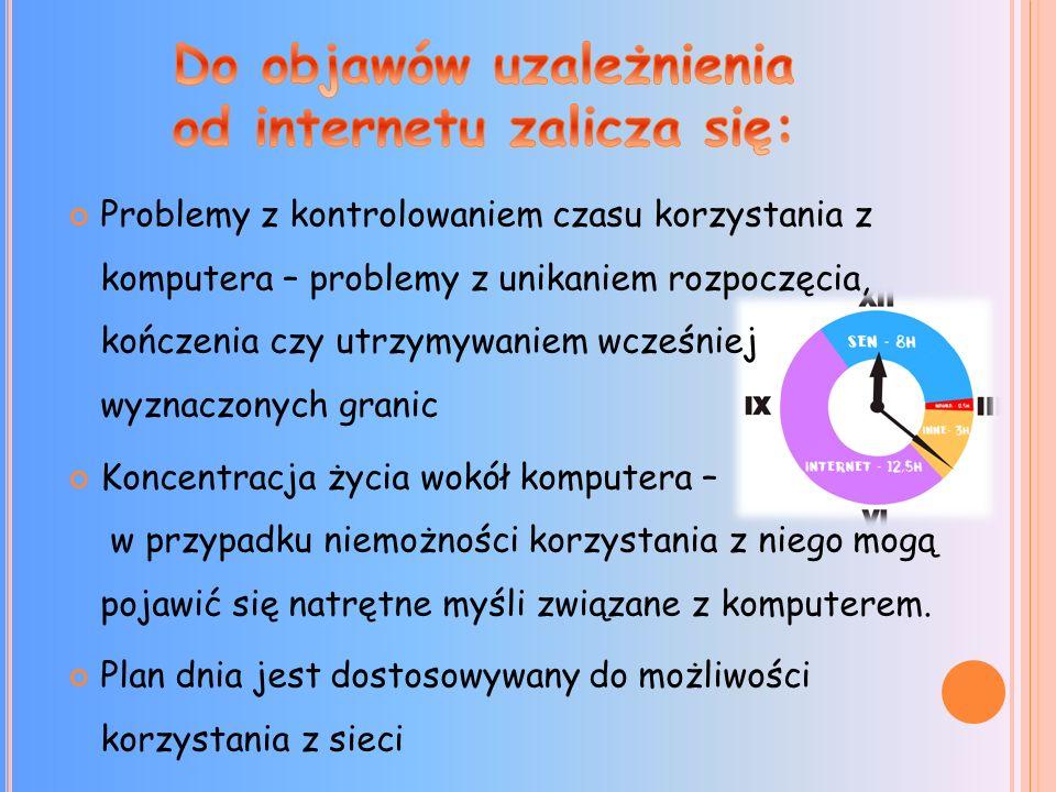 Problemy z kontrolowaniem czasu korzystania z komputera – problemy z unikaniem rozpoczęcia, kończenia czy utrzymywaniem wcześniej wyznaczonych granic Koncentracja życia wokół komputera – w przypadku niemożności korzystania z niego mogą pojawić się natrętne myśli związane z komputerem.