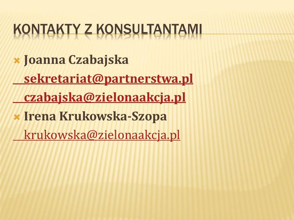 Joanna Czabajska sekretariat@partnerstwa.pl czabajska@zielonaakcja.pl Irena Krukowska-Szopa krukowska@zielonaakcja.pl