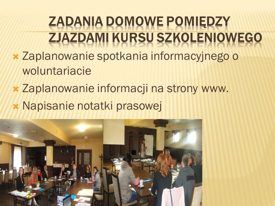 Zaplanowanie spotkania informacyjnego o woluntariacie Zaplanowanie informacji na strony www.