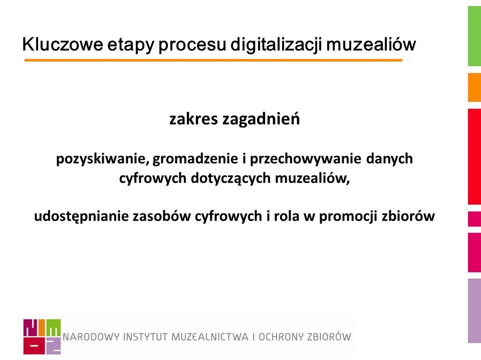 Kluczowe etapy procesu digitalizacji muzealiów zakres zagadnień pozyskiwanie, gromadzenie i przechowywanie danych cyfrowych dotyczących muzealiów, udo