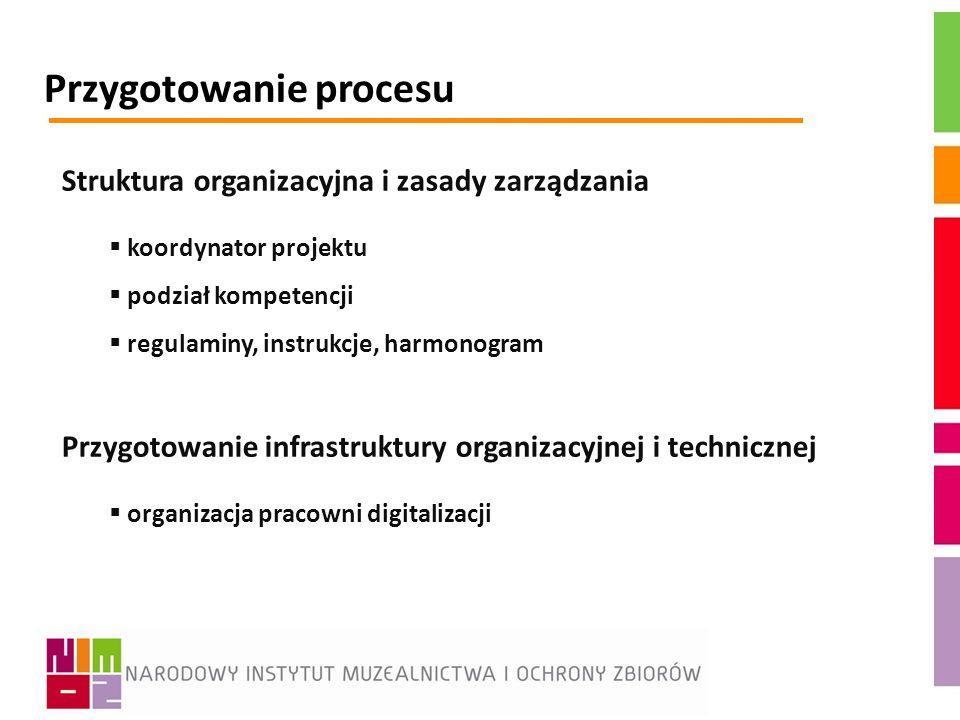 Przygotowanie procesu Struktura organizacyjna i zasady zarządzania koordynator projektu podział kompetencji regulaminy, instrukcje, harmonogram Przygo