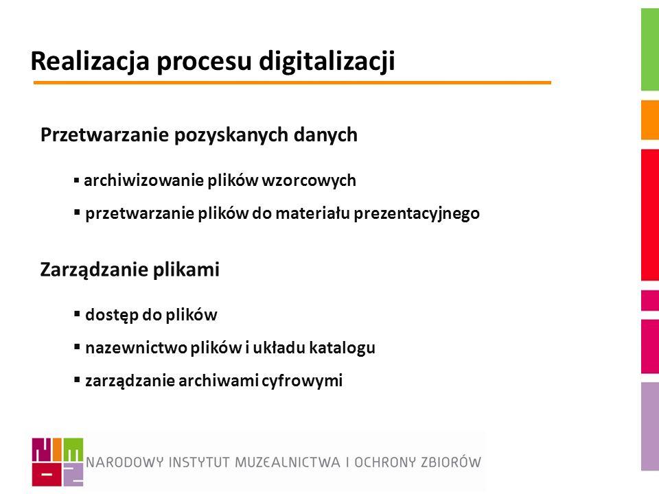 Realizacja procesu digitalizacji Przetwarzanie pozyskanych danych archiwizowanie plików wzorcowych przetwarzanie plików do materiału prezentacyjnego Z