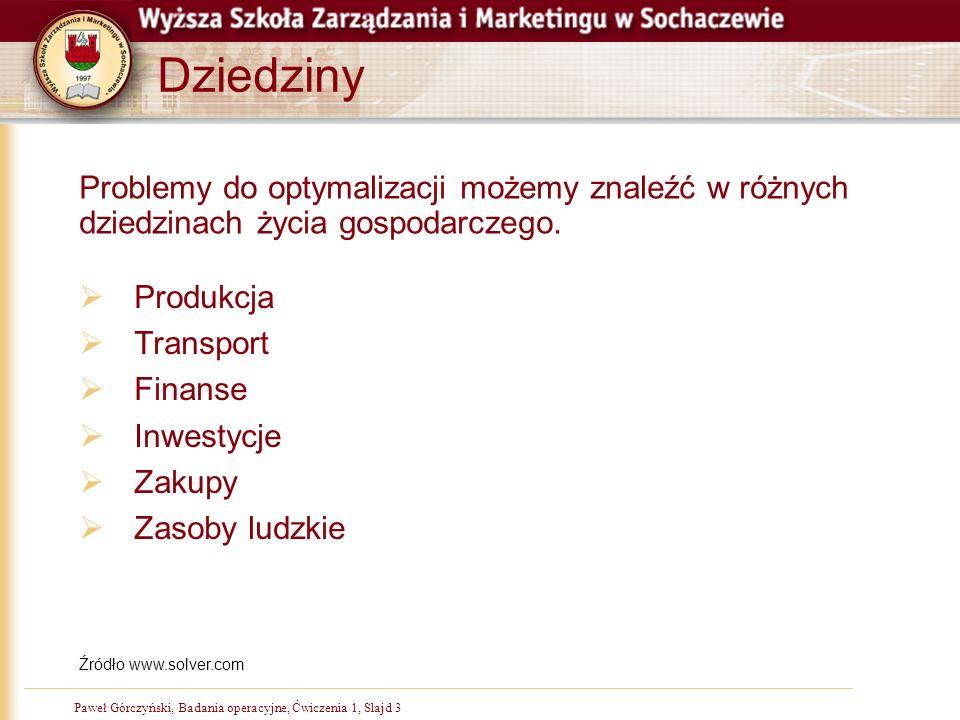 Paweł Górczyński, Badania operacyjne, Ćwiczenia 1, Slajd 3 Dziedziny Produkcja Transport Finanse Inwestycje Zakupy Zasoby ludzkie Źródło www.solver.co