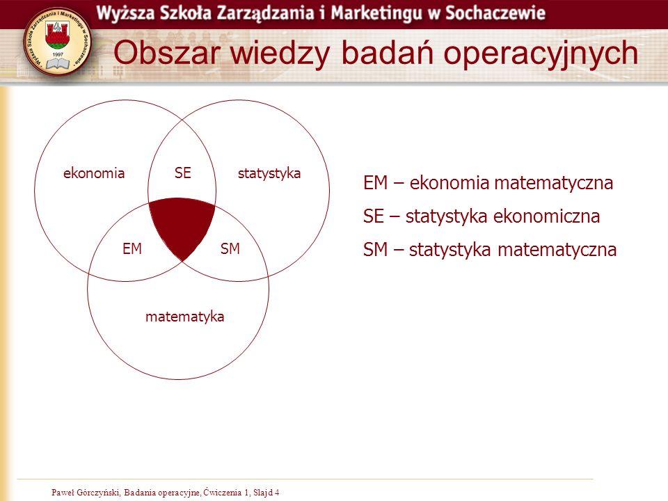 Paweł Górczyński, Badania operacyjne, Ćwiczenia 1, Slajd 4 Obszar wiedzy badań operacyjnych matematyka statystykaekonomia EMSM SE EM – ekonomia matema