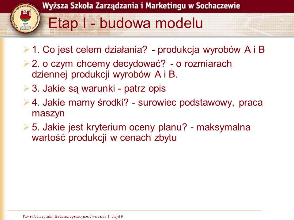 Paweł Górczyński, Badania operacyjne, Ćwiczenia 1, Slajd 9 Etap I - budowa modelu 1. Co jest celem działania? - produkcja wyrobów A i B 2. o czym chce