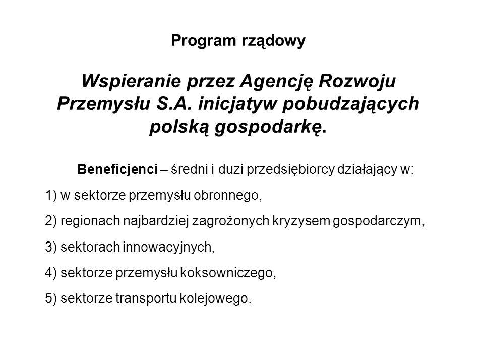 Program rządowy Wspieranie przez Agencję Rozwoju Przemysłu S.A.