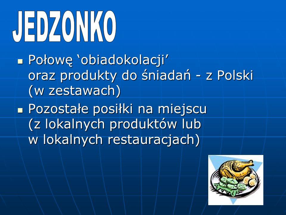 Połowę obiadokolacji oraz produkty do śniadań - z Polski (w zestawach) Połowę obiadokolacji oraz produkty do śniadań - z Polski (w zestawach) Pozostałe posiłki na miejscu (z lokalnych produktów lub w lokalnych restauracjach) Pozostałe posiłki na miejscu (z lokalnych produktów lub w lokalnych restauracjach)