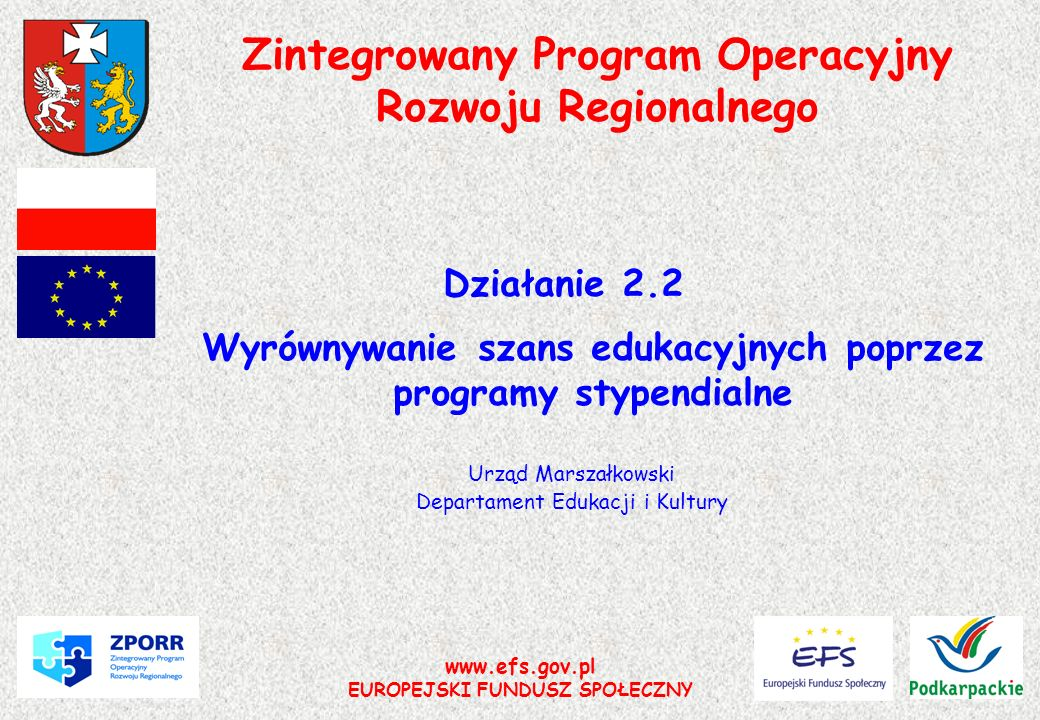 www.efs.gov.pl EUROPEJSKI FUNDUSZ SPOŁECZNY Zintegrowany Program Operacyjny Rozwoju Regionalnego Działanie 2.2 Wyrównywanie szans edukacyjnych poprzez