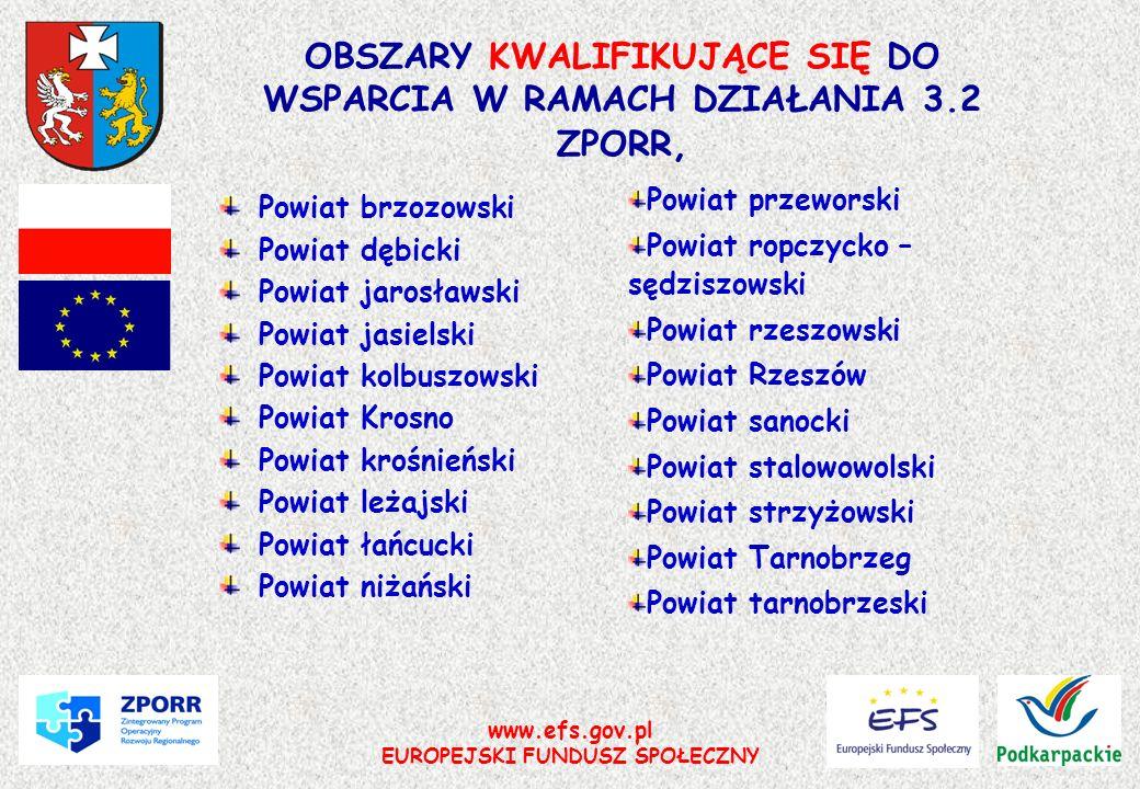 www.efs.gov.pl EUROPEJSKI FUNDUSZ SPOŁECZNY OBSZARY KWALIFIKUJĄCE SIĘ DO WSPARCIA W RAMACH DZIAŁANIA 3.2 ZPORR, Powiat brzozowski Powiat dębicki Powia