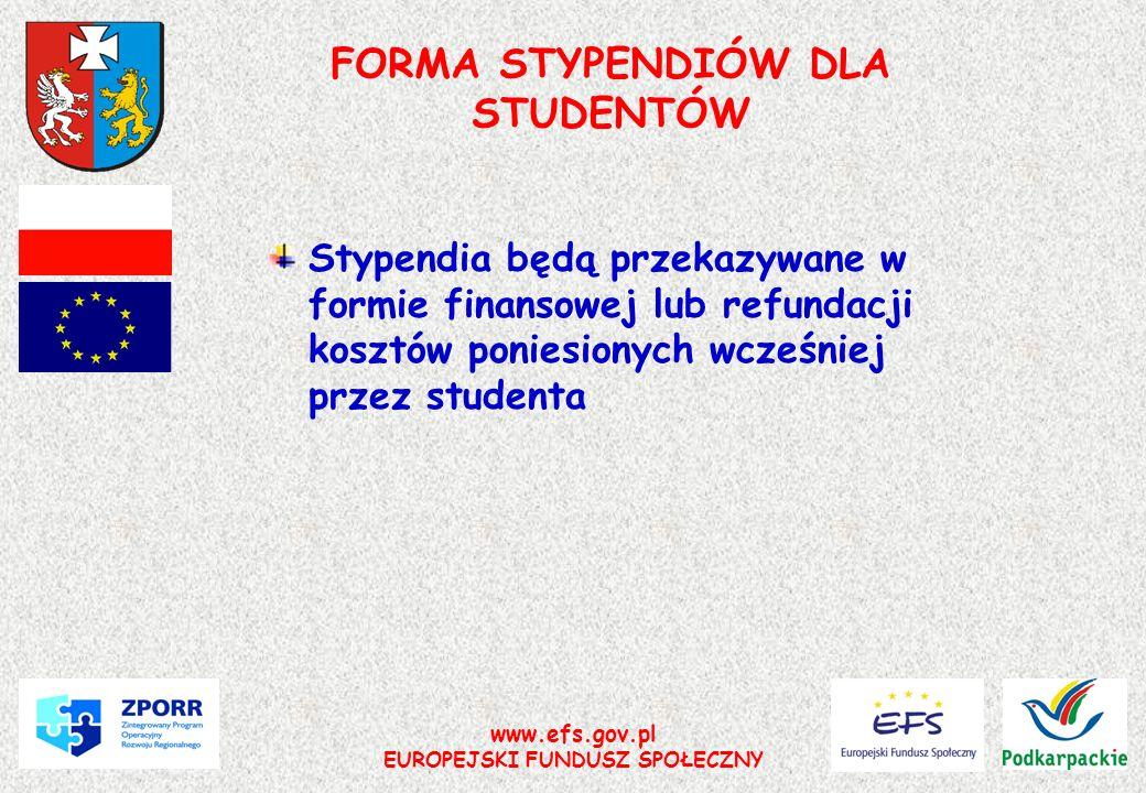 www.efs.gov.pl EUROPEJSKI FUNDUSZ SPOŁECZNY FORMA STYPENDIÓW DLA STUDENTÓW Stypendia będą przekazywane w formie finansowej lub refundacji kosztów poni