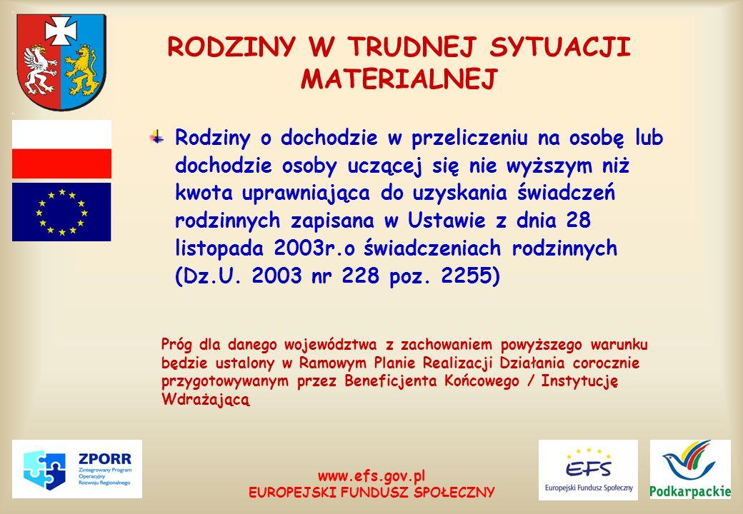 www.efs.gov.pl EUROPEJSKI FUNDUSZ SPOŁECZNY RODZINY W TRUDNEJ SYTUACJI MATERIALNEJ Rodziny o dochodzie w przeliczeniu na osobę lub dochodzie osoby ucz