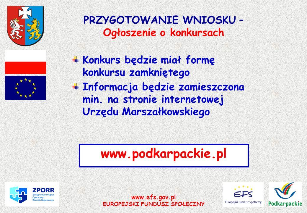www.efs.gov.pl EUROPEJSKI FUNDUSZ SPOŁECZNY PRZYGOTOWANIE WNIOSKU – Ogłoszenie o konkursach Konkurs będzie miał formę konkursu zamkniętego Informacja