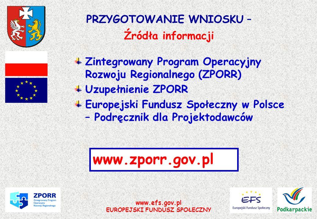 www.efs.gov.pl EUROPEJSKI FUNDUSZ SPOŁECZNY PRZYGOTOWANIE WNIOSKU – Źródła informacji Zintegrowany Program Operacyjny Rozwoju Regionalnego (ZPORR) Uzu