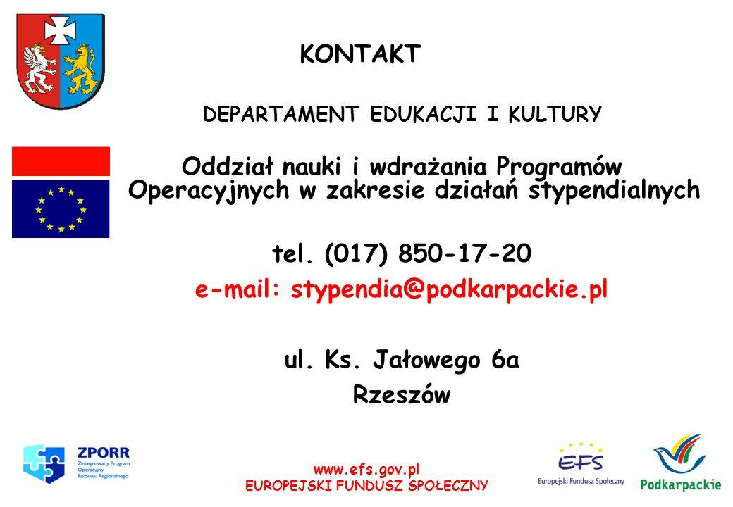 www.efs.gov.pl EUROPEJSKI FUNDUSZ SPOŁECZNY Pracownicy Stanisław Rysz e-mail: starysz@podkarpackie.pl Katarzyna Kuczmenda e-mail: kkuczmenda@podkarpackie.pl Edyta Lubas e-mail: elubas@podkarpackie.pl Piotr Jankowski e-mail: pjankowski@podkarpackie.pl