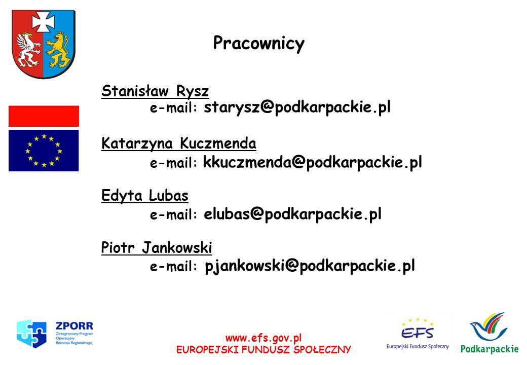 www.efs.gov.pl EUROPEJSKI FUNDUSZ SPOŁECZNY Pracownicy Stanisław Rysz e-mail: starysz@podkarpackie.pl Katarzyna Kuczmenda e-mail: kkuczmenda@podkarpac