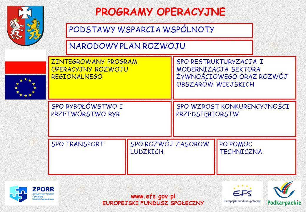 www.efs.gov.pl EUROPEJSKI FUNDUSZ SPOŁECZNY PROGRAMY OPERACYJNE NARODOWY PLAN ROZWOJU PODSTAWY WSPARCIA WSPÓLNOTY SPO ROZWÓJ ZASOBÓW LUDZKICH SPO WZRO